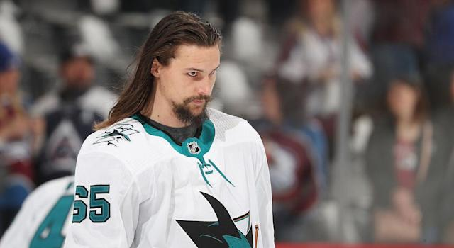 Erik Karlsson's tweet has fans speculating he might be leaving San Jose. (Michael Martin/Getty Images)