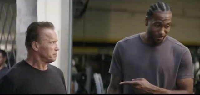 Kawhi Leonard looked at ease, by his standards, promoting Terminator:Dark Fate (@Schwarzenegger)
