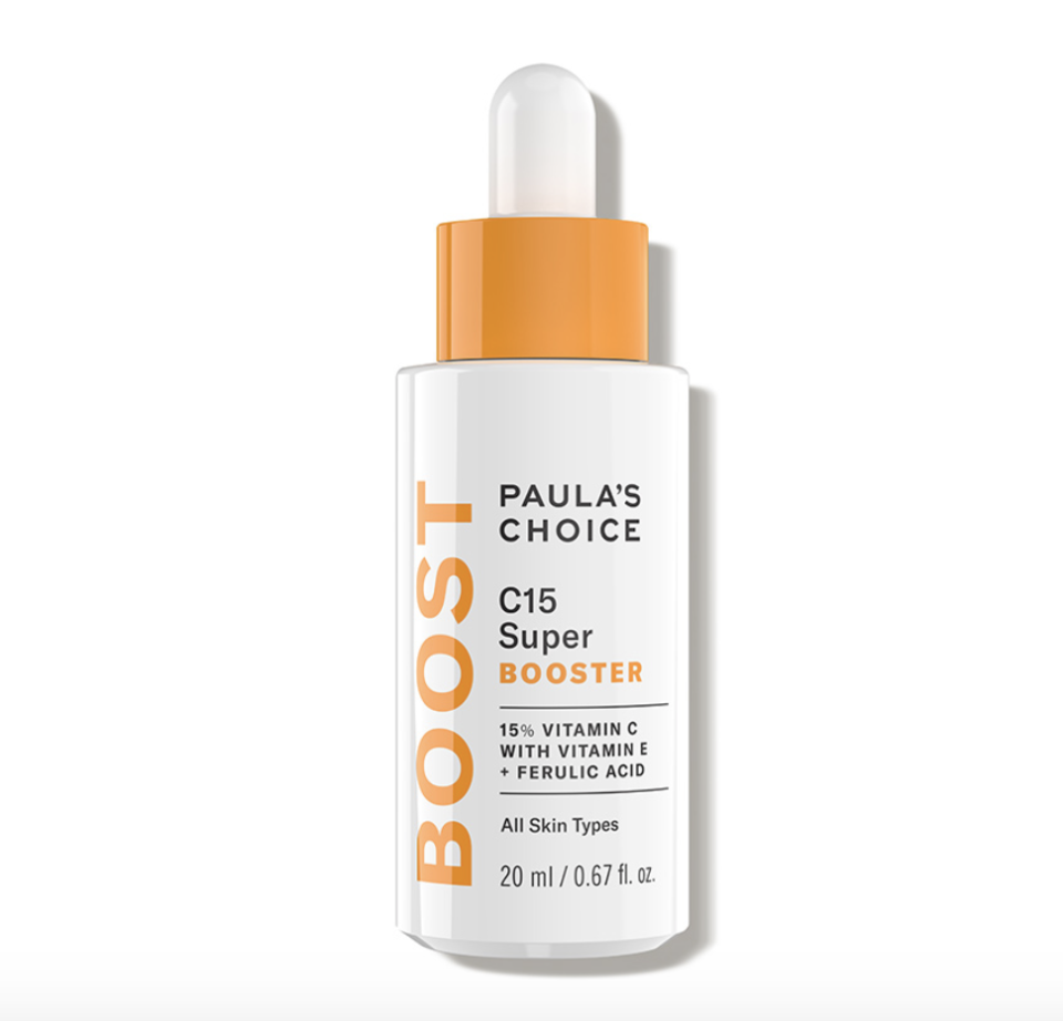 """<p><strong>Paula's Choice </strong></p><p><strong>$49.00</strong></p><p><a href=""""https://go.redirectingat.com?id=74968X1596630&url=https%3A%2F%2Fwww.dermstore.com%2Fproduct_C15%2BSuper%2BBooster_54588.htm&sref=https%3A%2F%2Fwww.marieclaire.com%2Fbeauty%2Fg35067108%2Fferulic-adic-guide%2F"""" rel=""""nofollow noopener"""" target=""""_blank"""" data-ylk=""""slk:SHOP IT"""" class=""""link rapid-noclick-resp"""">SHOP IT </a></p><p>Along with its complexion-brightening ingredients, C15 Super Booster serum is packed with ultra-hydrating components such as vitamin E, castor oil, and hyaluronic acid to support skin elasticity.</p>"""