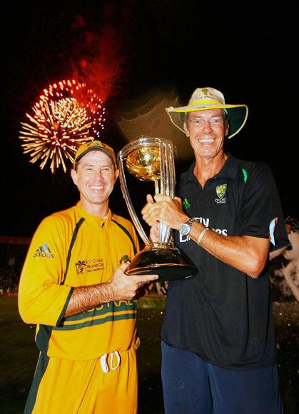 Ricky Ponting and coach John Buchanan of Australia hold the ICC Cricket World Cup trophy after the ICC Cricket World Cup Final between Australia and Sri Lanka at the Kensington Oval on April 28, 2007 in Bridgetown, Barbados.  (Photo by Hamish Blair/Getty Images) *** Local Caption *** Ricky Ponting;John Buchanan