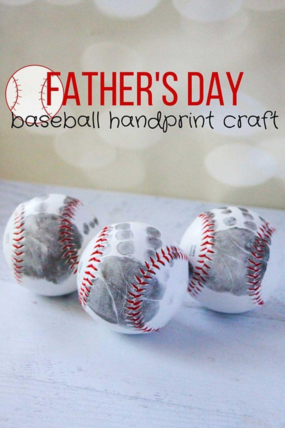 """<p>Knock Father's day out of the park with this sentimental gift idea.</p><p><em><strong>Get the tutorial at </strong><a href=""""http://thekindergartenconnection.com/fathers-day-baseball-craft/"""" rel=""""nofollow noopener"""" target=""""_blank"""" data-ylk=""""slk:The Kindergarten Connection"""" class=""""link rapid-noclick-resp""""><strong>The Kindergarten Connection</strong></a><strong>. </strong></em></p>"""