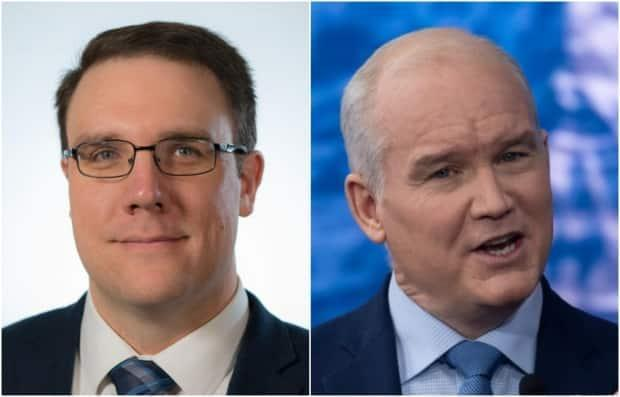 Alberta Environment Minister Jason Nixon, left, says the province will review the proposed carbon plan from Conservative Party of Canada, announced by leader Erin O'Toole, right. (CBC - image credit)