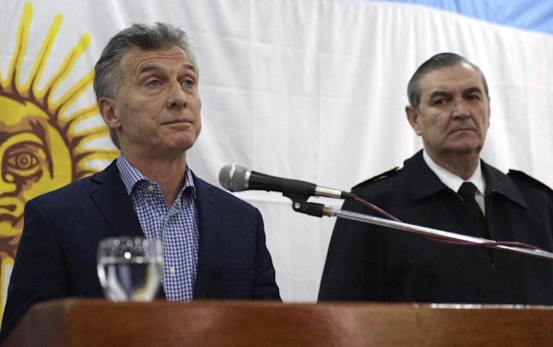 Marcelo Srur, right, who was sacked over the loss of the ARA San Juan submarine with 44 crew members on board, is seen last month with President Mauricio Macri (AFP Photo/JUAN MABROMATA)