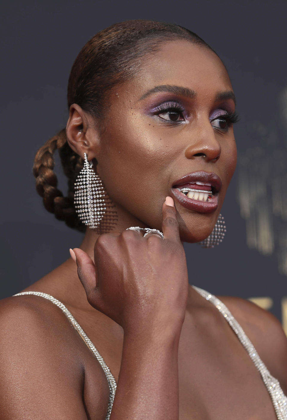 Issa Rae arrives at the 73rd Emmy Awards at the JW Marriott on Sept. 19, 2021, at L.A. LIVE in Los Angeles. - Credit: Danny Moloshok/Invision/AP