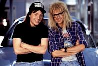 """<p>Maybe one of the best <em>SNL</em>-to-film adaptations ever made, the boneheaded duo Wayne and Garth bring their heavy metal-loving cable access show to a wider audience—and deliver an iconic lip sync to Queen's """"Bohemian Rhapsody.""""</p>"""