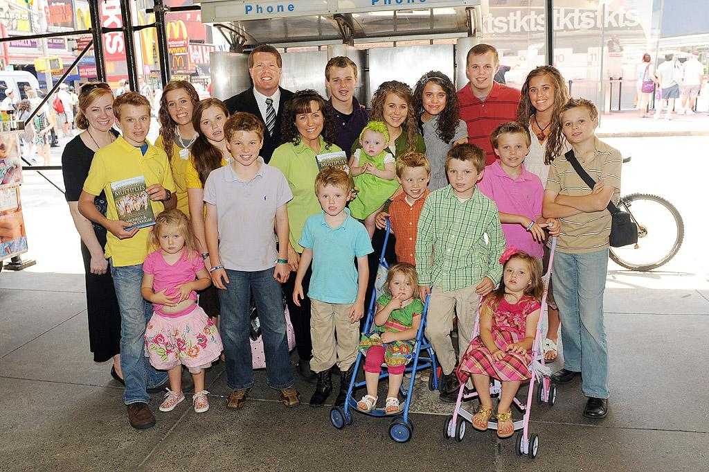 "The award for biggest brood goes to reality TV family the Duggars, who have a whopping 19 children, ranging in age from almost 3 years old to 24. (Don't worry, we won't name them all, but all of their names begin with the letter J.) Unbelievably, 47-year-old patriarch Jim Bob and 45-year-old matriarch Michelle claim they're not done yet. Though Michelle miscarried what would have been their 20th child last year, she recently said she's ready to try again. ""We would love more if the lord saw fit to give us more,"" she told Savannah Guthrie on the ""Today"" show in August. The couple is also grandparents to eldest son Josh's two children."