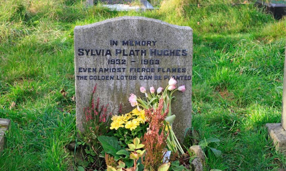 Sylvia Plath's grave in the cemetery of St Thomas The Apostle Church, Heptonstall, West Yorkshire.