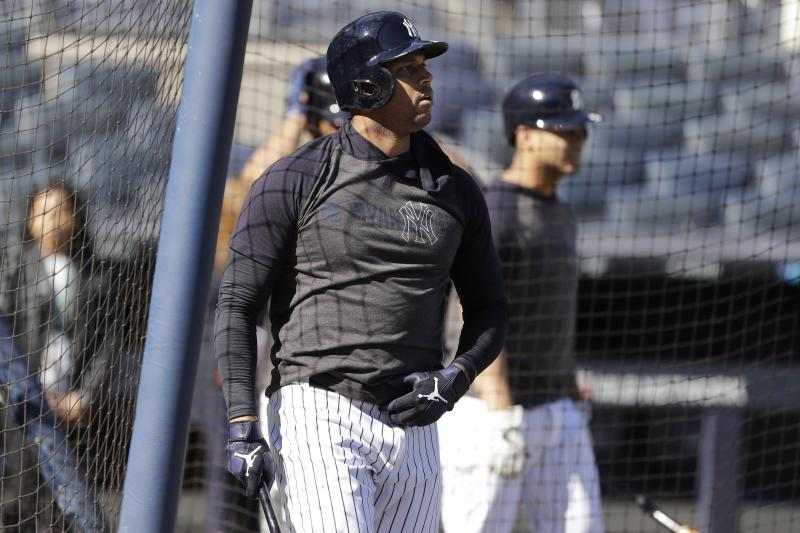 New York Yankees' Aaron Hicks takes batting practice at Yankee Stadium Thursday, Oct. 10, 2019, New York. The Yankees will play the winner of tonight's Tampa Bay Rays at Houston Astros American League Division Series game in Game 1 of the American League Championship Series on Saturday, Oct. 12 in New York. (AP Photo/Frank Franklin II)