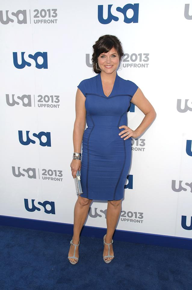NEW YORK, NY - MAY 16:  Tiffani Thiessen attends USA Network 2013 Upfront Event at Pier 36 on May 16, 2013 in New York City.  (Photo by Dave Kotinsky/Getty Images)