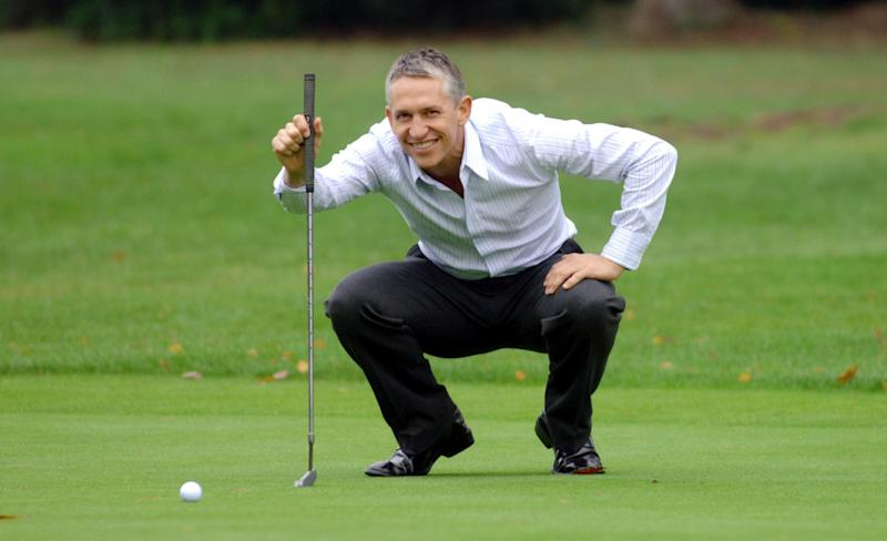 Match of the Day presenter Gary Lineker poses for photographers as he is unveiled as the BBC's new face of golf during a photocall at Foxhills Golf Club, Ottershaw, Surrey.