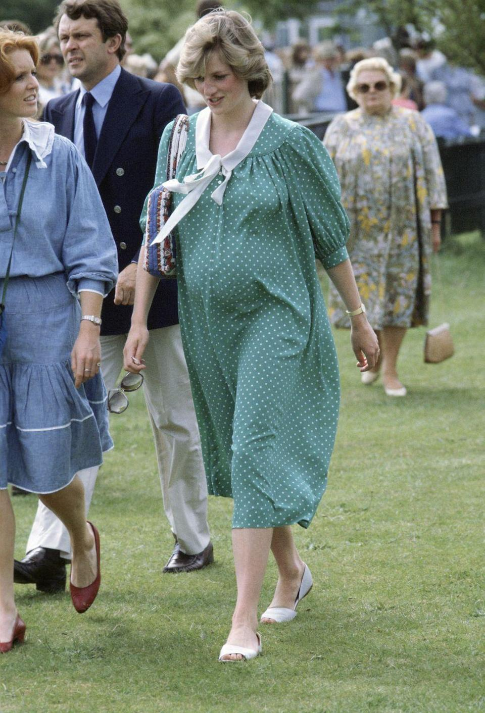 """<p>Princess Diana also took a few departures from the coat and dress combination that had been almost a uniform for royal pregnancies. None of her maternity outfits are more recognizable than this green and white polka dot dress that she wore to a polo event two weeks before Prince William was born. This would also be the very dress she would wear <a href=""""https://www.goodhousekeeping.com/beauty/fashion/tips/g1372/princess-diana-fashion/?slide=6"""" rel=""""nofollow noopener"""" target=""""_blank"""" data-ylk=""""slk:leaving the hospital"""" class=""""link rapid-noclick-resp"""">leaving the hospital</a> after he was born. </p>"""