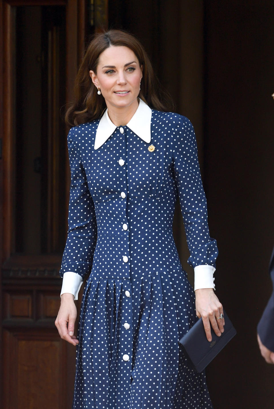 The Duchess of Cambridge wore a polka dot Alessandra Rich dress when she visited the D-Day exhibition at Bletchley Park on May 14, 2019. (Getty Images)