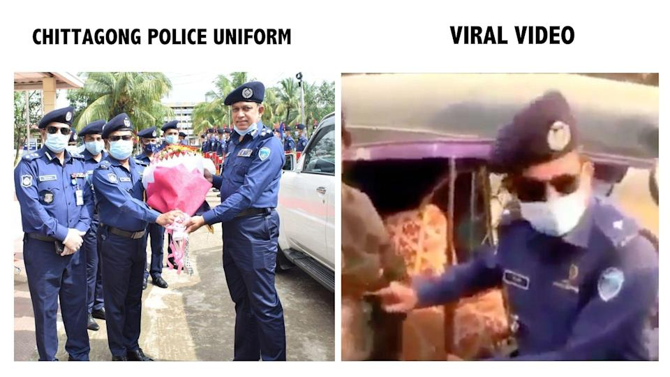 """<div class=""""paragraphs""""><p>Uniform of Chittagong police (L), Screengrab from viral video (R).</p></div>"""