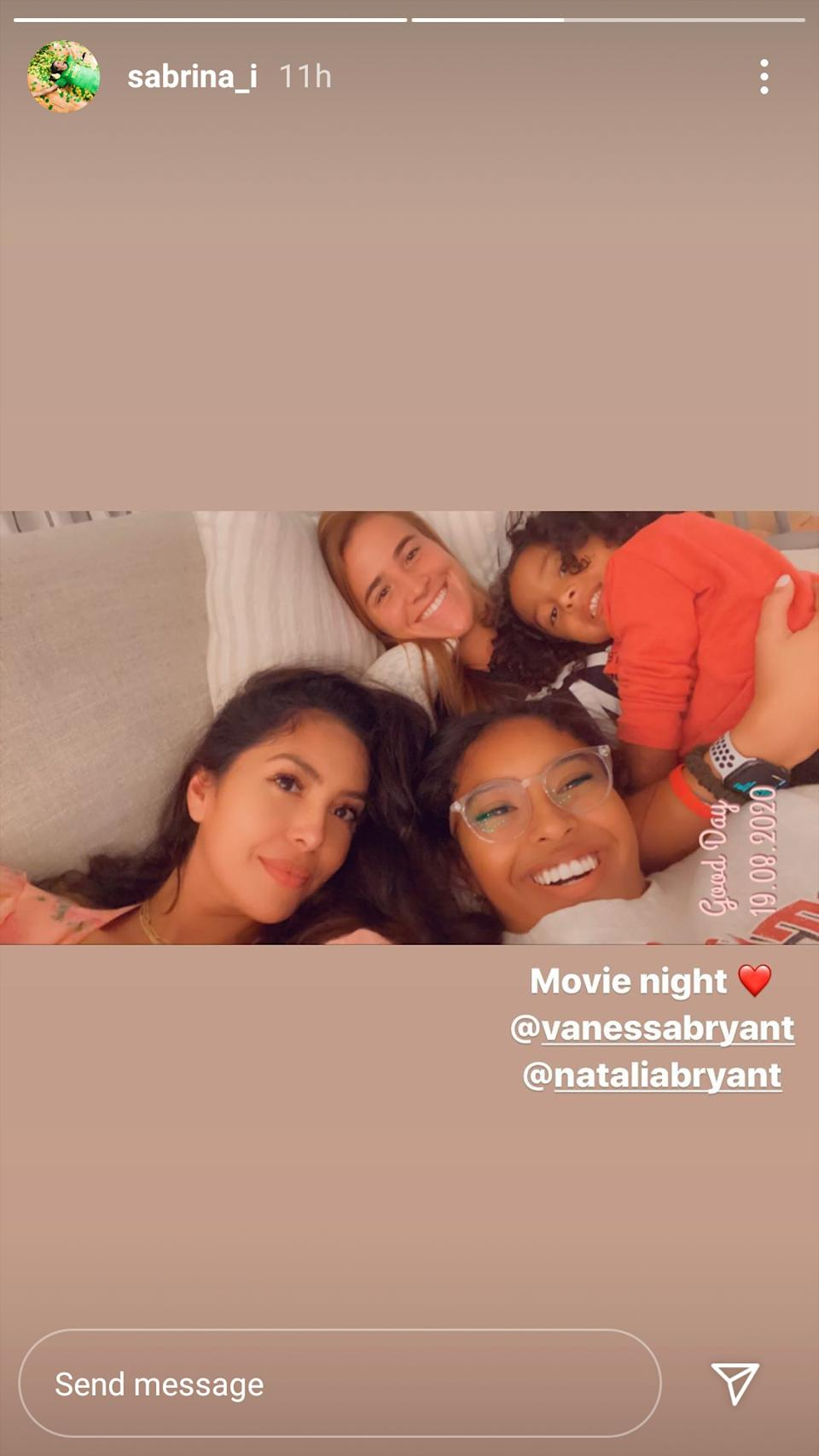 Sabrina Ionescu spent a movie night with the Bryant family. (Screenshot/Instagram)