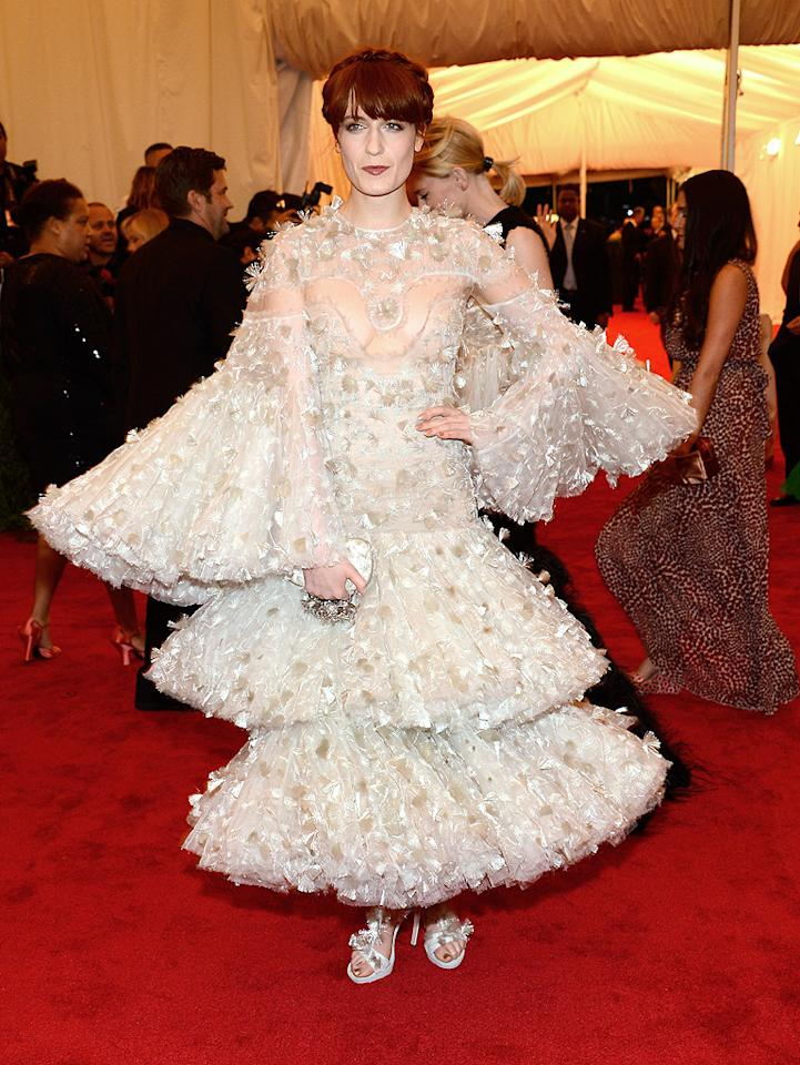 Florence + the Machine singer Florence Welch stepped out in an over-the-top creation from Alexander McQueen.