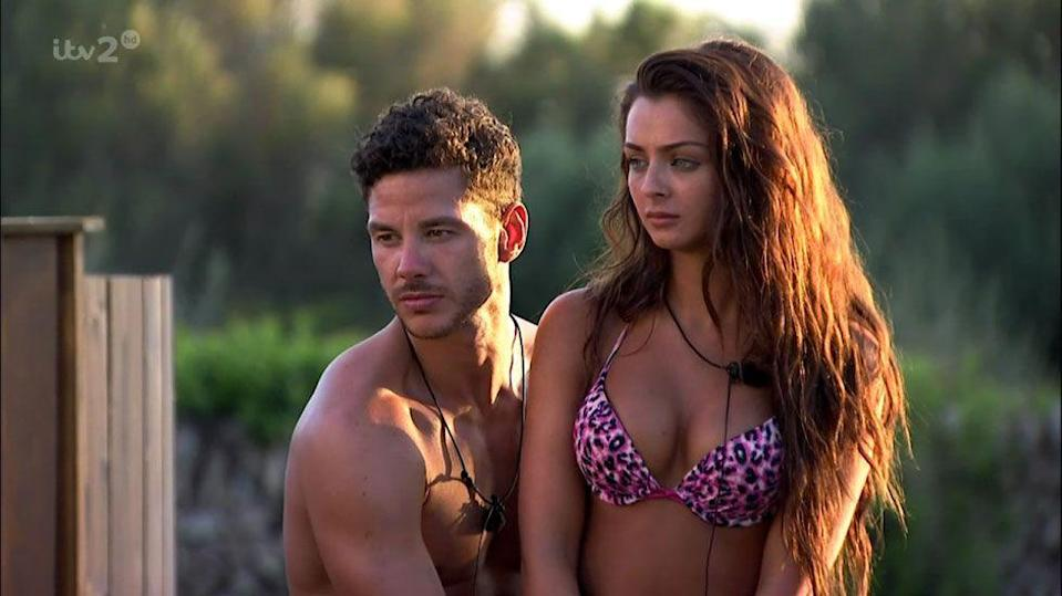 """<p><strong>Relationship status: Mugged off</strong></p><p>Scott and Kady managed to make it a whole year <a href=""""https://www.cosmopolitan.com/uk/entertainment/a11807324/kady-scott-split-love-island/"""" rel=""""nofollow noopener"""" target=""""_blank"""" data-ylk=""""slk:before they called time on their relationship."""" class=""""link rapid-noclick-resp"""">before they called time on their relationship.</a> </p>"""