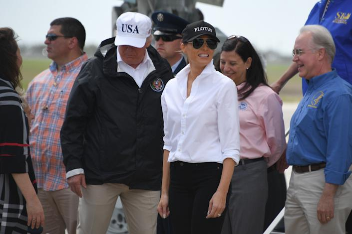 """Trump's """"USA"""" hat is <a href=""""https://shop.donaldjtrump.com/products/official-usa-45th-presidential-hat-white"""" rel=""""nofollow noopener"""" target=""""_blank"""" data-ylk=""""slk:currently for sale"""" class=""""link rapid-noclick-resp"""">currently for sale</a> on his website for $40. (Photo: JIM WATSON via Getty Images)"""