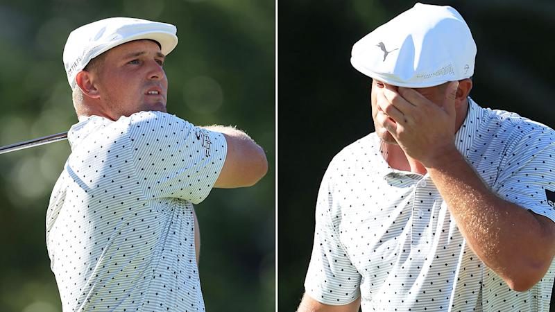 Seen here, Bryson DeChambeau cuts a frustrated figure in the second round at the Memorial.
