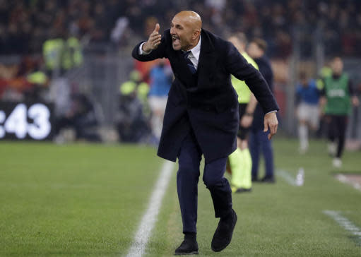 FILE - In this Dec. 2, 2018 file photo, Inter Milan coach Luciano Spalletti gives instructions during the Serie A soccer match between Roma and Inter Milan at the Rome Olympic stadium. Inter Milan is heading to Juventus determined to prove the battle for the Serie A title is not already over. Inter is third but already 11 points behind Juventus and anything but a win Friday, Dec. 7, 2018, against the Serie A leader in Turin will surely rule the Nerazzurri out of the title race. (AP Photo/Andrew Medichini, file)