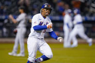 New York Mets' Francisco Lindor runs the bases after hitting a two-run home run off Arizona Diamondbacks relief pitcher Caleb Smith during the seventh inning of a baseball game, Friday, May 7, 2021, in New York. (AP Photo/John Minchillo)