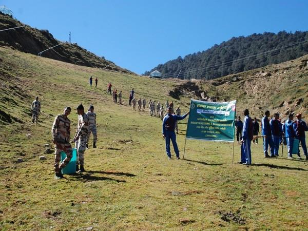 Cleanliness campaign organised at ski slopes of Auli by ITBP.