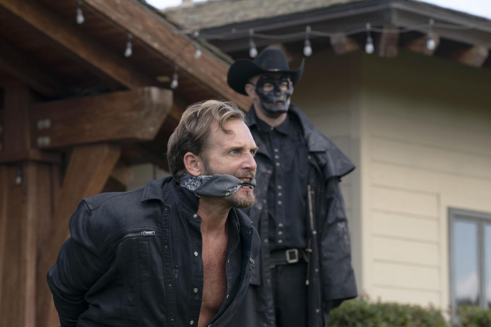 """This image released by Universal Pictures shows Josh Lucas in a scene from """"The Forever Purge,"""" directed by Everardo Valerio Gout. (Jake Giles Netter/Universal Pictures via AP)"""