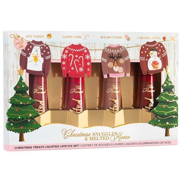 <p>The lipstick-lover in your life will want this <span>Too Faced Christmas Snuggles & Melted Kisses Liquid Lipstick Set</span> ($25).</p>