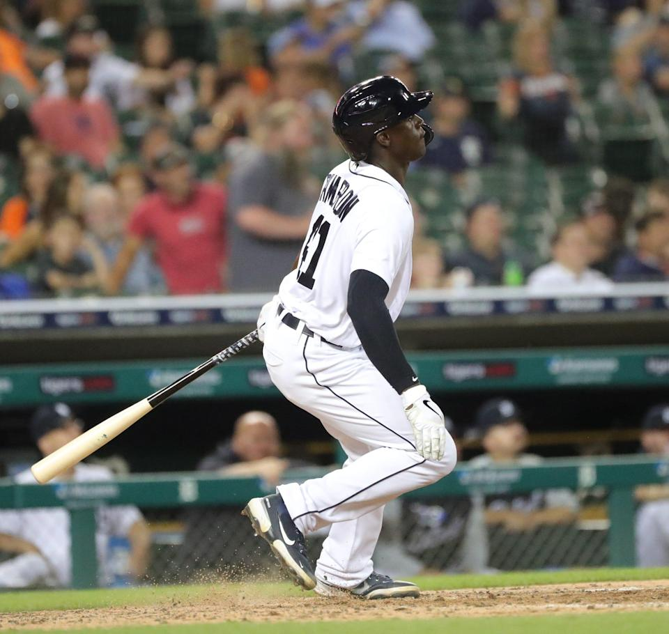 Detroit Tigers center fielder Daz Cameron (41) doubles during sixth inning action on Thursday, June 24, 2021, at Comerica Park in Detroit.
