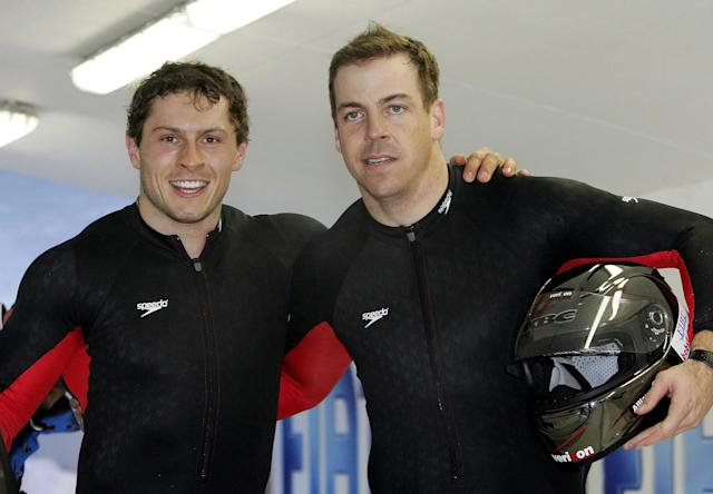 Pavle Jovanovic, left, with teammate Todd Hays after finishing third in the two-man bobsled at the 2005 world championships in Austria. (AP/Kerstin Joensson)