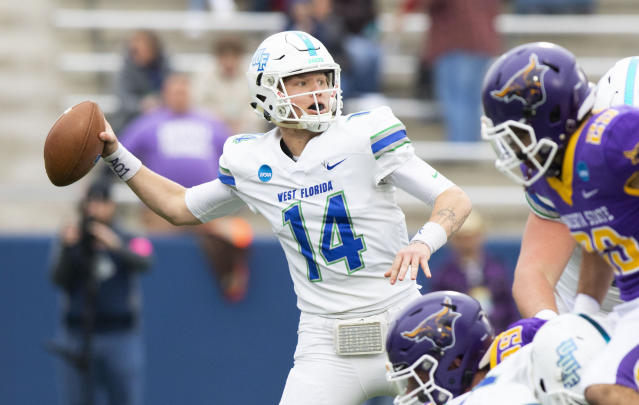 West Florida quarterback Austin Reed throws downfield during the Division II championship NCAA college football game against Minnesota State, Saturday, Dec. 21, 2019, in McKinney, Texas. (AP Photo/Gareth Patterson)
