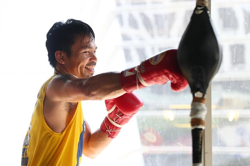 Manny Pacquiao trains at the Elorde boxing Gym on May 17, 2017 in Manila, Philippines.