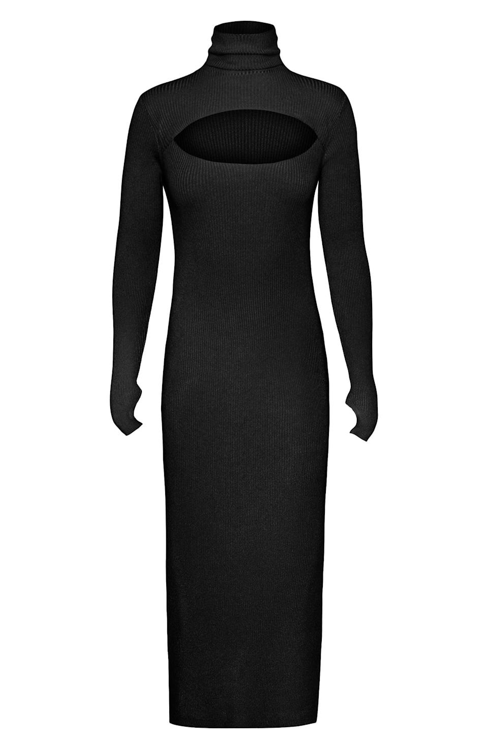 <p>The unexpected cutout of this <span>Afrm Brielle Rib Long Sleeve Midi Sweater Dress</span> ($138) makes it so interesting.</p>