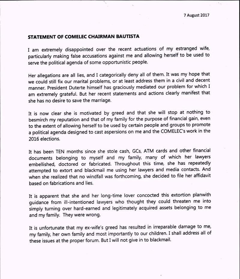 Comelec chief releases statement on alleged ill-gotten wealth