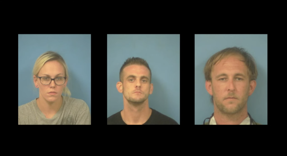 Pate, Dent and Mehn are seen in their mug shots.