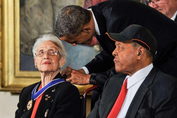 PHOTO: President Barack Obama presents Katherine G. Johnson with the Presidential Medal of Freedom during the 2015 Presidential Medal Of Freedom Ceremony at the White House, Nov. 24, 2015, in Washington. (Kris Connor/WireImage/Getty Images)