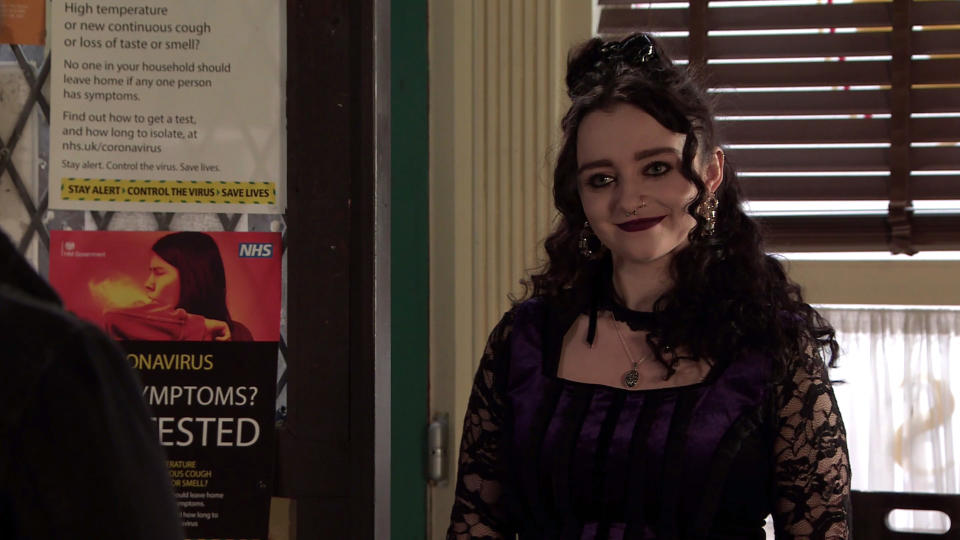 FROM ITV  STRICT EMBARGO - No Use Before Tuesday 13th April 2021  Coronation Street - Ep 10306  Wednesday 21st April 2021 - 2nd Ep  When Nina Lucas [MOLLIE GALLAGHER] invites him to stay the night and explains that sheÕs okayed it with Roy and heÕs promised to stay out of the way, Seb FranklinÕs [HARRY VISINONI] thrilled.  Picture contact David.crook@itv.com   This photograph is (C) ITV Plc and can only be reproduced for editorial purposes directly in connection with the programme or event mentioned above, or ITV plc. Once made available by ITV plc Picture Desk, this photograph can be reproduced once only up until the transmission [TX] date and no reproduction fee will be charged. Any subsequent usage may incur a fee. This photograph must not be manipulated [excluding basic cropping] in a manner which alters the visual appearance of the person photographed deemed detrimental or inappropriate by ITV plc Picture Desk. This photograph must not be syndicated to any other company, publication or website, or permanently archived, without the express written permission of ITV Picture Desk. Full Terms and conditions are available on  www.itv.com/presscentre/itvpictures/terms