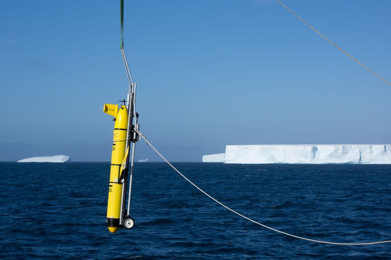 A robotic submersible glider is deployed to collect data as part of a research mission on the impact of the A-68a iceberg on the ecosystem in Antarctica