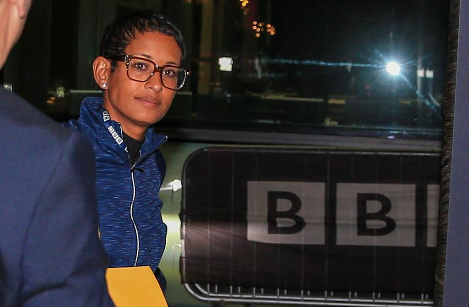 Naga Munchetty arrives at MediaCityUK in Salford to host BBC Breakfast for the first time since she was at the centre of an impartiality row over her criticism of Donald Trump. PA Photo. Picture date: Thursday October 3, 2019. It is her first on-screen appearance on the BBC Breakfast sofa since a ruling originally made by the BBCs Executive Complaints Unit (ECU) was overturned by the corporations Director-General Tony Hall. See PA story MEDIA Munchetty. Photo credit should read: Peter Byrne/PA Wire (Photo by Peter Byrne/PA Images via Getty Images)