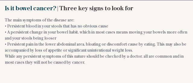 Is it bowel cancer? | Three key signs to look for