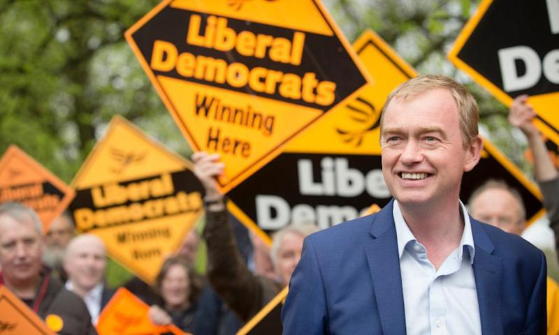 Tim Farron campaigning in Manchester where the Lib Dems are targeting seats in Gorton and Withington.