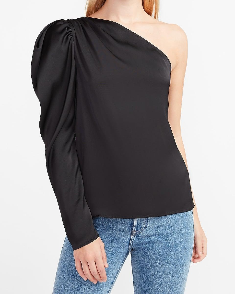 <p>Have a dressy Zoom happy hour coming up? This <span>Satin One Puff Shoulder Top</span> ($58) will be sure to impress.</p>