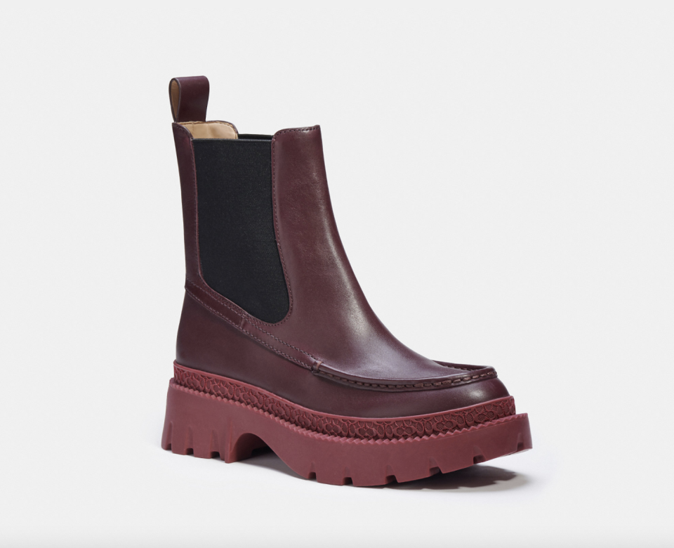 red wine coloured coach Joey Bootie