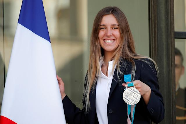 French snowborder Julia Pereira de Sousa Mabileau, Olympic silver medalist during the Pyeongchang 2018 Winter Olympic Games, poses after an award ceremony gathering French athletes that competed in the 2018 Pyeongchang Olympics winter Games, at the Elysee Palace in Paris, France, April 13, 2018. Reuters/Charles Platiau