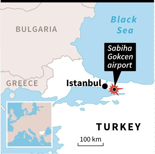 Map locating Istanbul's Sabhiha Gokcen airport. 45 x 45 mm (AFP Photo/)