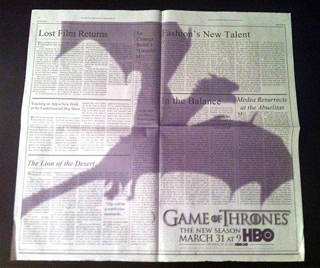 """Game of Thrones"" New York Times Ad"