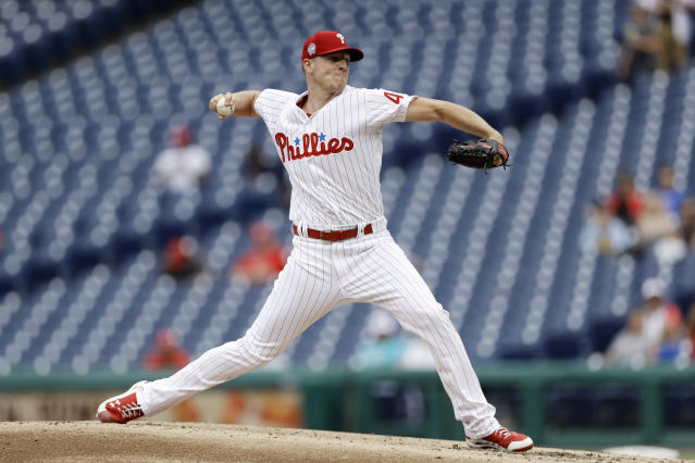 Philadelphia Phillies' Nick Pivetta pitches during the third inning of the first game of a baseball doubleheader against the Washington Nationals, Tuesday, Sept. 11, 2018, in Philadelphia. (AP Photo/Matt Slocum)