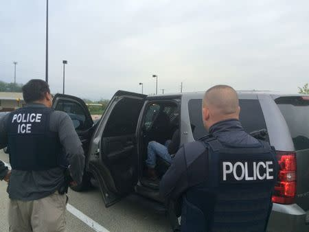 ICE officers during an operation targeting criminal aliens and other immigration violators in Philadelphia Pennsylvania