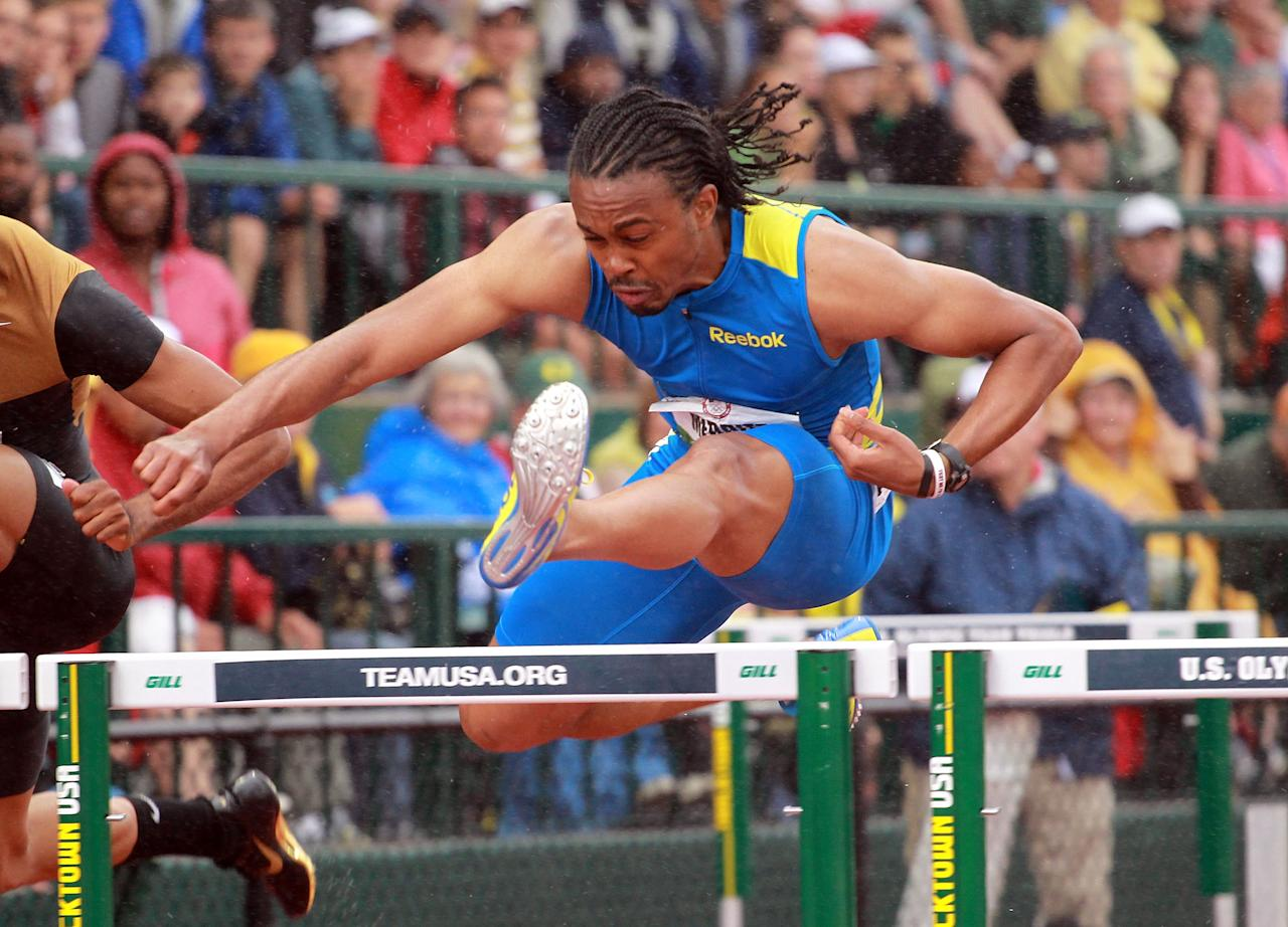EUGENE, OR - JUNE 30:  Aries Merritt runs to victory in the Men's 110 Meter Hurdles on Day 9 of the 2012 U.S. Olympic Track & Field Team Trials at Hayward Field on June 30, 2012 in Eugene, Oregon.  (Photo by Andy Lyons/Getty Images)