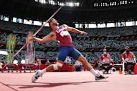 <p>Michael Shuey of Team United States competes in the Men's Javelin Throw Qualification on day twelve of the Tokyo 2020 Olympic Games at Olympic Stadium on August 04, 2021 in Tokyo, Japan. (Photo by David Ramos/Getty Images)</p>