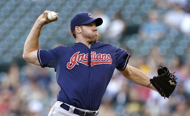 Cleveland Indians starting pitcher Zach McAllister throws against the Seattle Mariners in the first inning of a baseball game Tuesday, July 23, 2013, in Seattle. (AP Photo/Elaine Thompson)